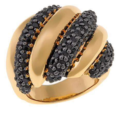 Bellezza 2.44ctw Black Spinel Bronze Ribbed Dome Ring