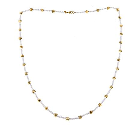 """Bellezza 36"""" White Agate Textured Bead Necklace"""