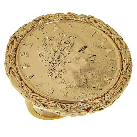 exclusive! Bellezza 50 Lira Coin Bronze Byzantine Ring