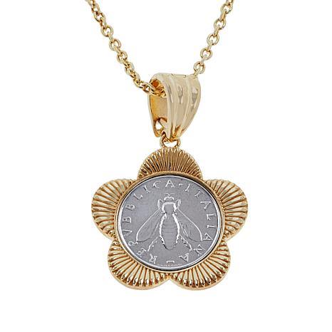 "Bellezza ""Bee"" Lira Coin Flower Enhancer Pendant with 18"" Chain"