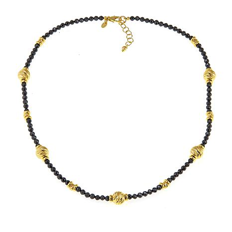 "Bellezza Black Spinel Bronze Beaded 20"" Station Necklace"