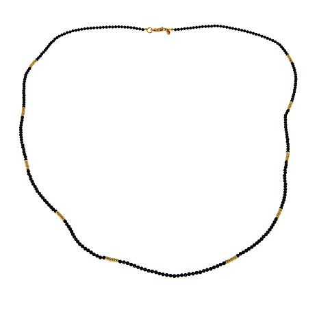 """Bellezza Black Spinel Bronze Beaded 35"""" Stacked Station Necklace"""