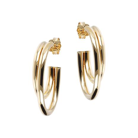 Bellezza Bronze Double Oval Hoop Earrings - 1-1/4""
