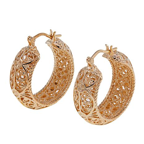 Bellezza Bronze Filigree Textured Hoop Earrings