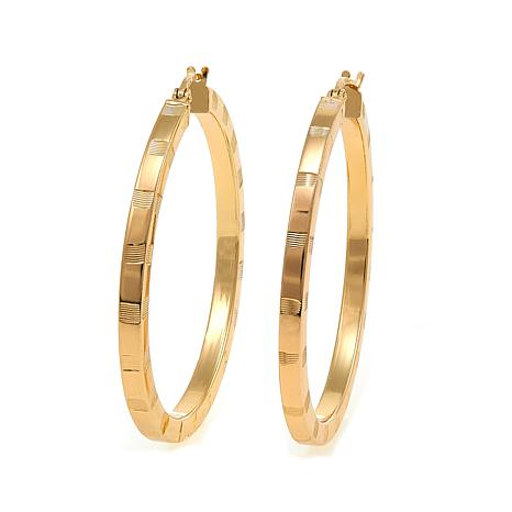 Bellezza Bronze Medium Diamond-Cut Hoop Earrings