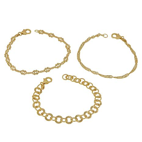 Bellezza Bronze Mixed Link 3-piece Bracelet Set