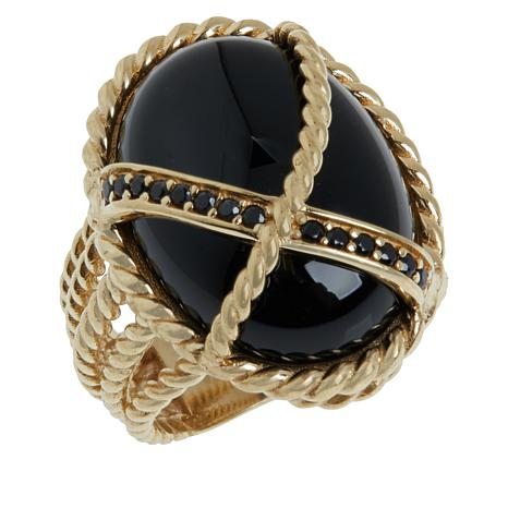 Bellezza Bronze Onyx and Black Spinel Rope Ring
