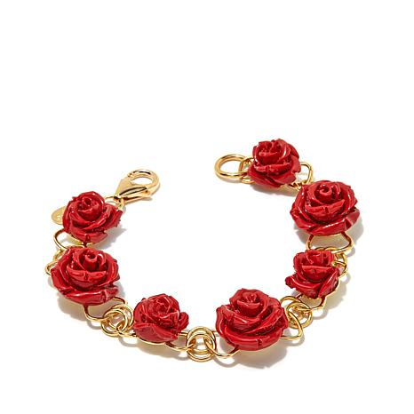 Bellezza Bronze Red Rose Station Bracelet