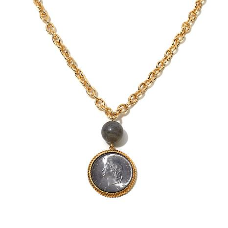 Bellezza Lira Coin Labradorite Rope Frame Drop Necklace