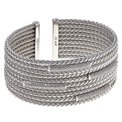 Bellezza Sterling Silver 10-Row CZ Station Woven Cuff Bracelet