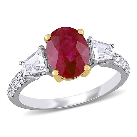 Bellini 14K 2-Tone Gold Ruby, White Sapphire and Diamond-Accented Ring