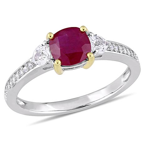 Bellini 14K Gold Ruby and White Sapphire 3-Stone Diamond-Accented Ring