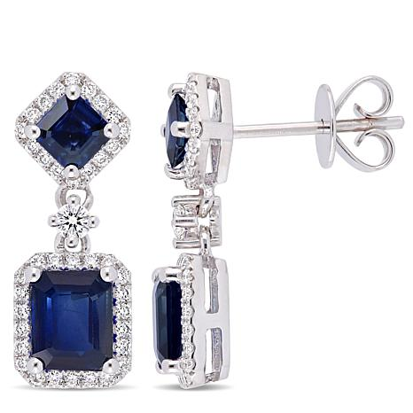 Bellini 14K White Gold Blue Sapphire and Diamond Drop Earrings