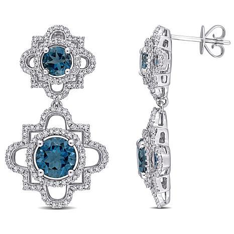 New Bellini 14k White Gold London Blue Topaz And Diamond Drop Earrings