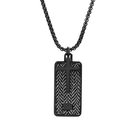 Ben Sherman Men's Black Stainless Steel Cross Dogtag Pendant Necklace