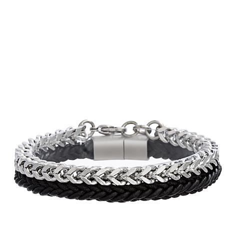 Ben Sherman Men's Braided Leather and Chain Bracelet Set