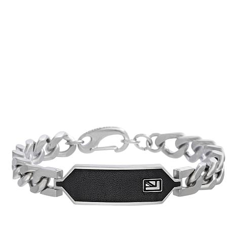 Ben Sherman Men's Leather-Accented Stainless Steel ID Bracelet