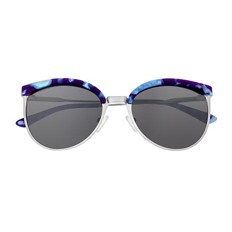 Bertha Hazel Polarized Sunglasses with Silver Frame and Black Lenses