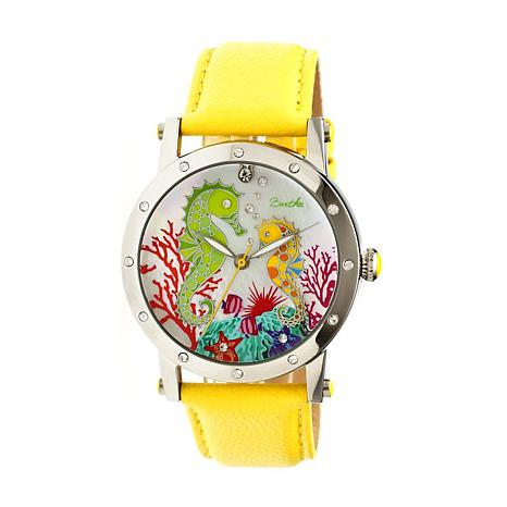 Bertha Morgan Mother-of-Pearl Dial Leather Strap Watch