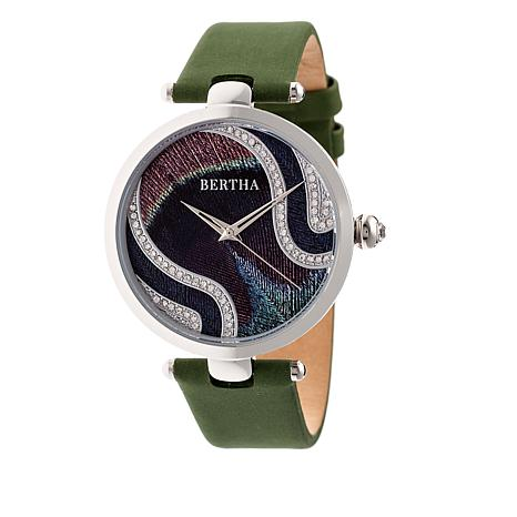 """Bertha """"Trisha"""" Multicolor Dial Leather Strap Watch with Silk Overlay"""