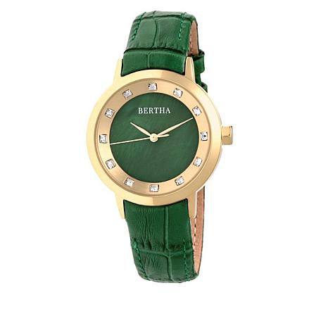 """Bertha Watches Women's """"Cecelia"""" Crystal-Accented Leather Strap Watch"""