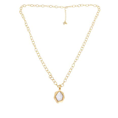 "Betty Carré Hexagonal Stone Goldtone Pendant with 32"" Chain"