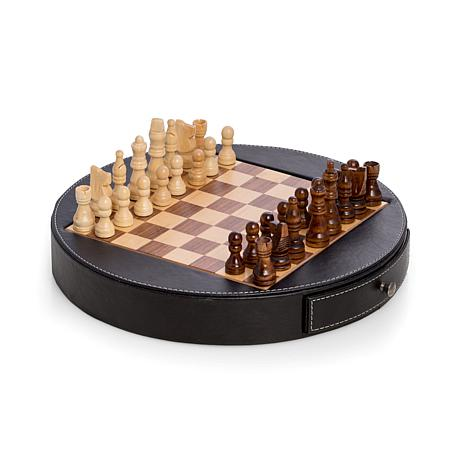 Bey-Berk Leather Trim Wood Surface Chess Set