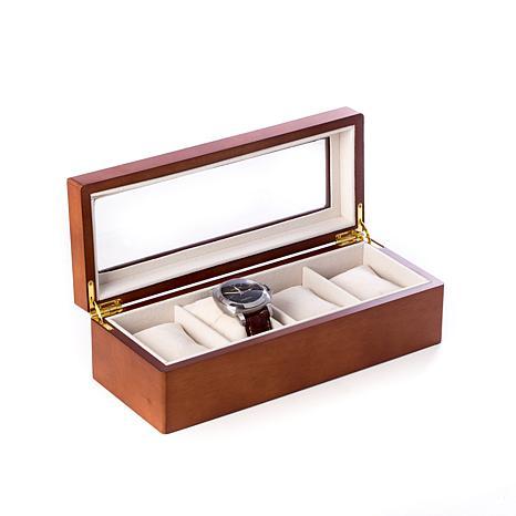 Bey-Berk Matte Cherry Wood 4-Slot Watch Box