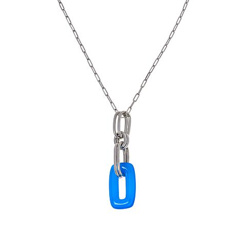 Bianca Milano Sterling Silver Rectangular Gemstone Pendant with Chain