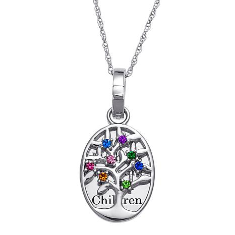 Birthstone Crystal Sterling Silver Engravable Family Tree Pendant