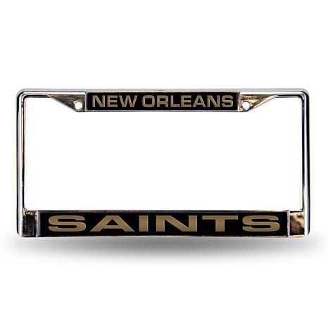 Black Laser Chrome License Plate Frame - New Orleans Saints ...