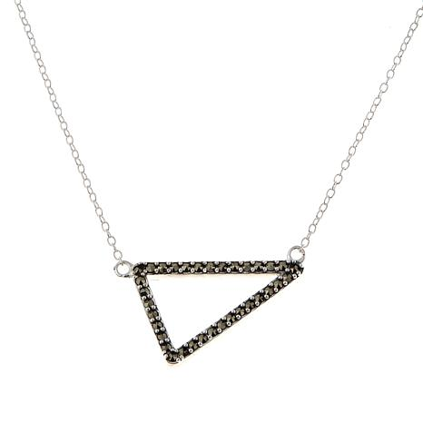 "Black Marcasite Sterling Silver Triangle Pendant 16"" Necklace"