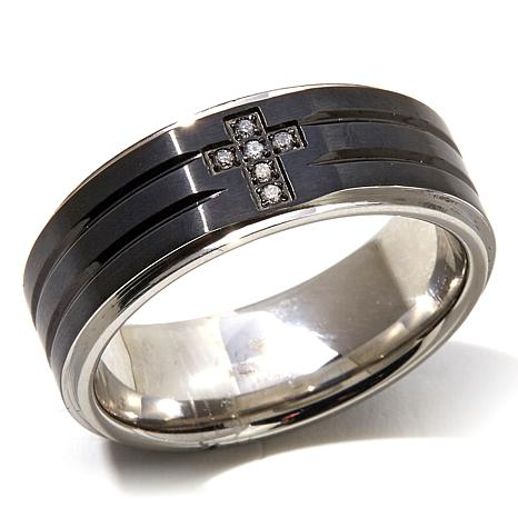 Black Stainless Steel White Diamond Cross Wedding Band