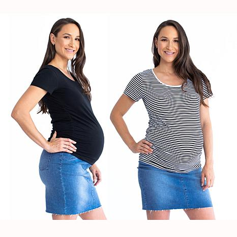 Blooming Women Body Hugging Maternity Tee 2-pack - Black/Black Stripes