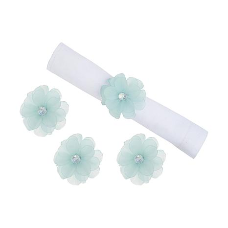 Blue Flower Napkin Ring Set of 4