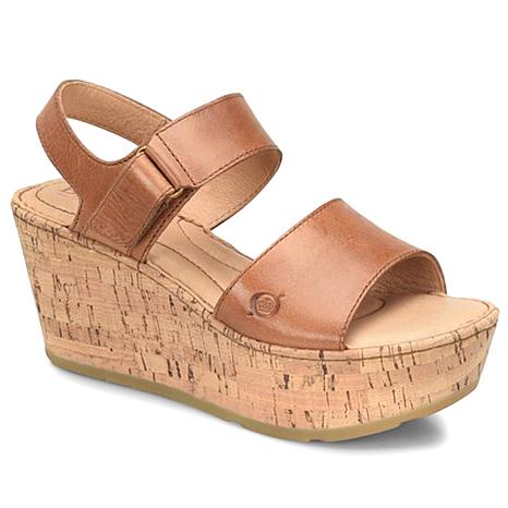 Born® Mae Leather Platform Wedge Sandal