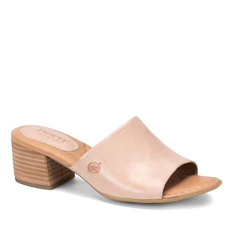 Born® Opal Leather Block Heel Slide Sandal