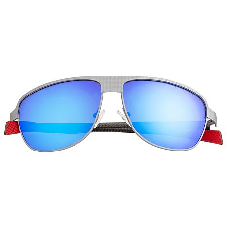 Breed Hardwell Polarized Sunglasses with Silver Frame and Blue Lenses