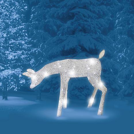 """Brite Star 60-Light Pure White LED 27"""" Morphing Deer"""