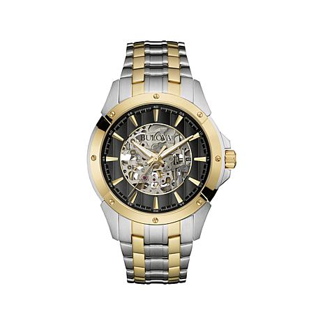 Bulova 2-Tone Automatic Skeleton Dial Bracelet Watch