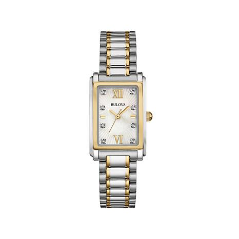 Bulova 2-Tone Rectangular Case Diamond-Accented Watch