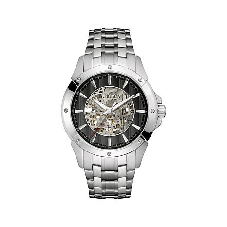 Bulova Black Skeleton Dial Automatic Bracelet Watch