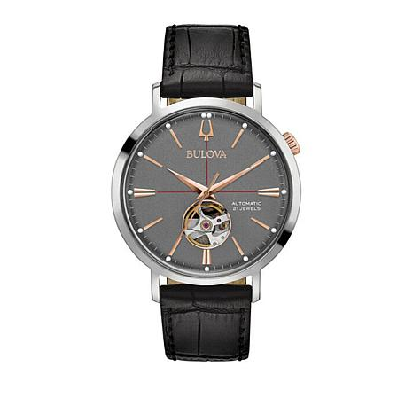 Bulova Classic Collection Black Leather Strap Watch