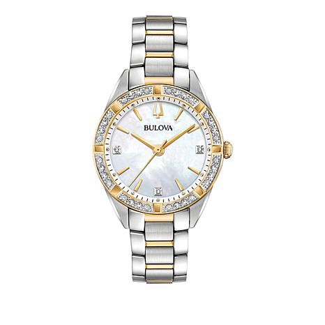 "Bulova ""Classic"" Pavé Diamond Goldtone and Silvertone Bracelet Watch"