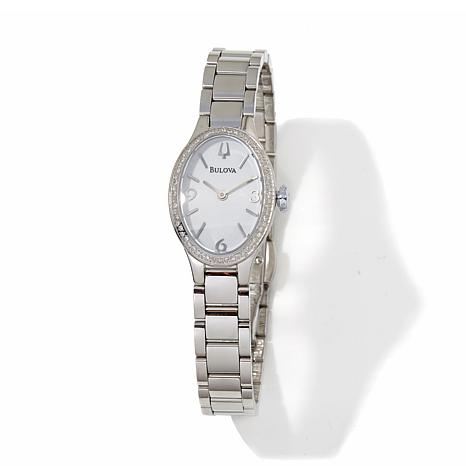 Bulova Diamond Bezel Oval Case Stainless Steel Watch