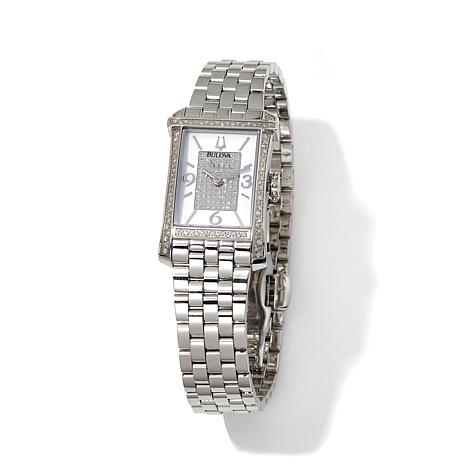 Bulova Diamond Dial and Bezel Rectangular Case Watch