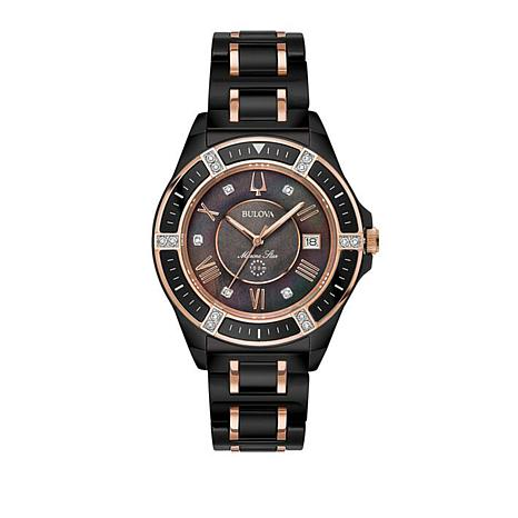 "Bulova ""Marine Star"" Black Ceramic Bracelet Watch"