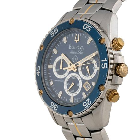 Bulova men 39 s blue dial 2 tone stainless steel marine star collection chronograp 7215560 hsn for Marine watches
