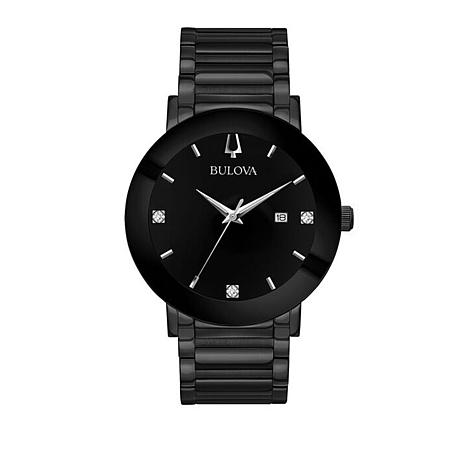 Bulova Men's Modern Collection Diamond Black Dial Watch