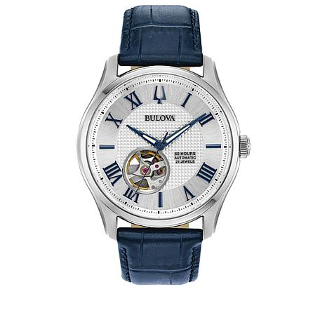 Bulova Men's Silvertone Stainless Steel Blue Leather Automatic Watch